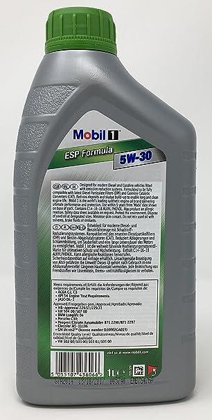 MOBIL 1 ESP FORMULA 5W-30, 6 Litros (5 lts + 1 lt): Amazon.es: Coche y moto
