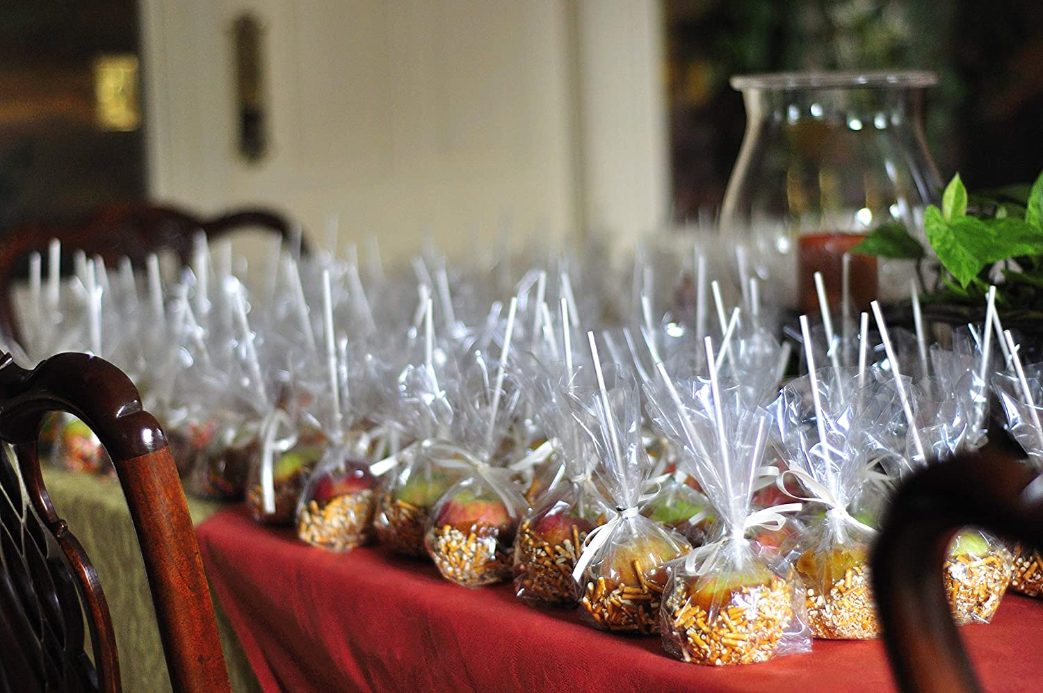 "100 CANDY APPLE Bags 4W""x2D""x8H"" Clear Poly Favor Caramel"