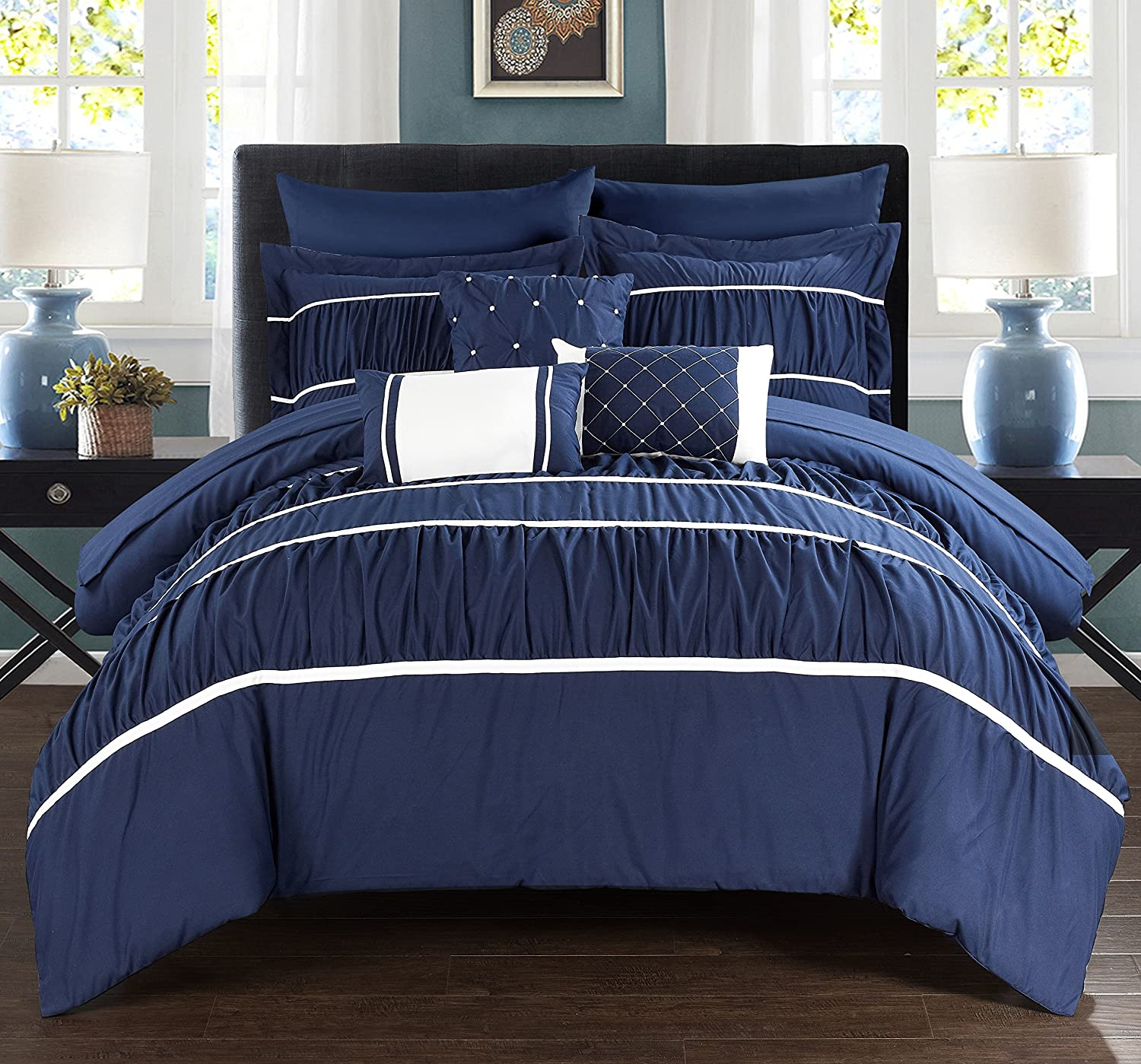 Pleated & Ruffled Bed In A Bag Comforter Set