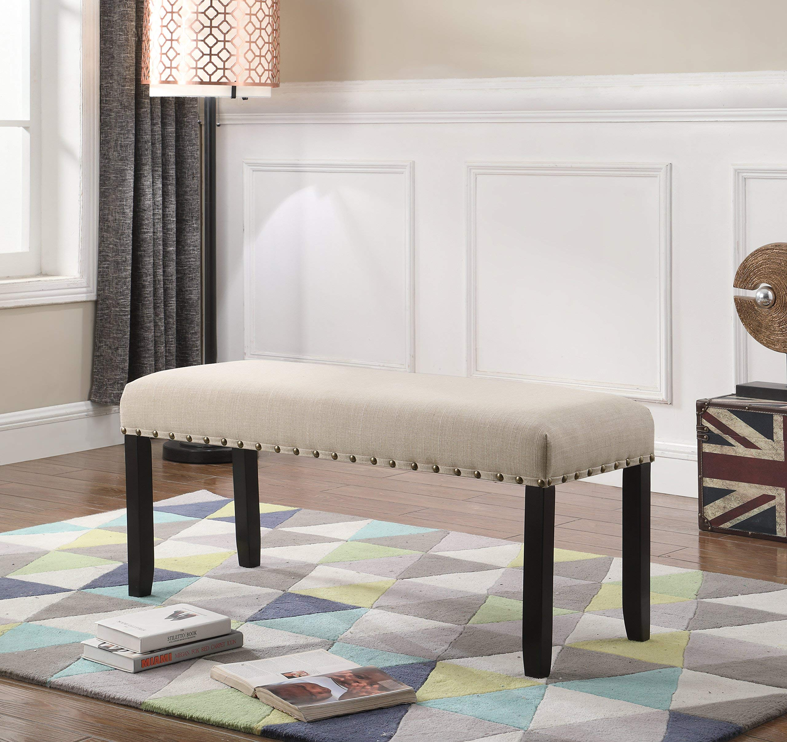 Roundhill Furniture Biony Fabric Dining Bench with Nailhead Trim, Tan by Roundhill Furniture