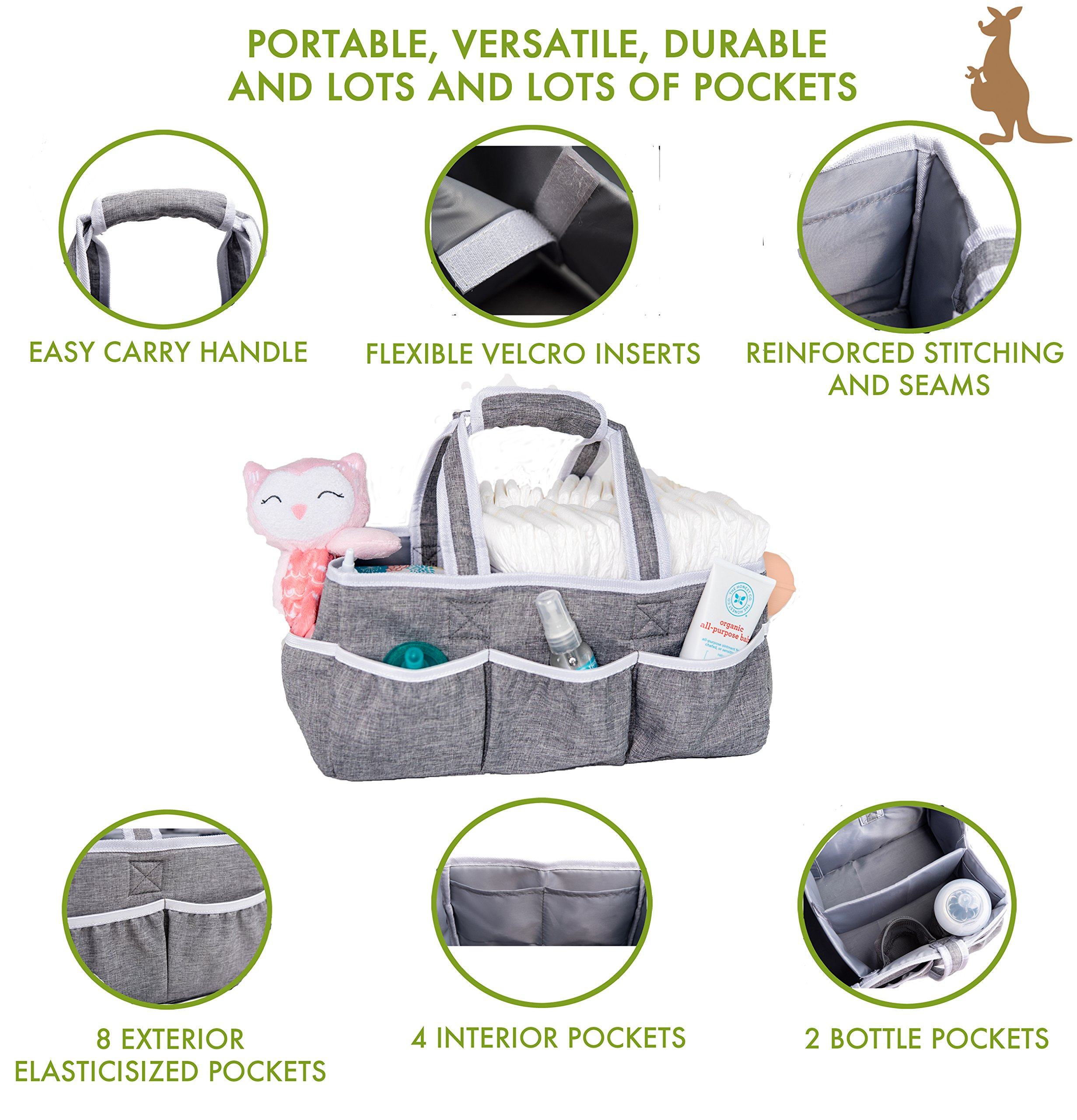 Wallaby Diaper Caddy Storage Bin - Organizer for Diapers, Wipes, Baby Bottles and More. Great for Home, Car, Travel or a Baby Shower Gift. by Bed Buddy (Image #4)