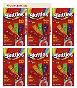 Skittles Singles to Go Drink Mix Packets | 6 Pack - 120 Total Water Flavor Packets | Zero Sugar Drink Packets | Bundled with Ballard Hard Candy Recipe Card