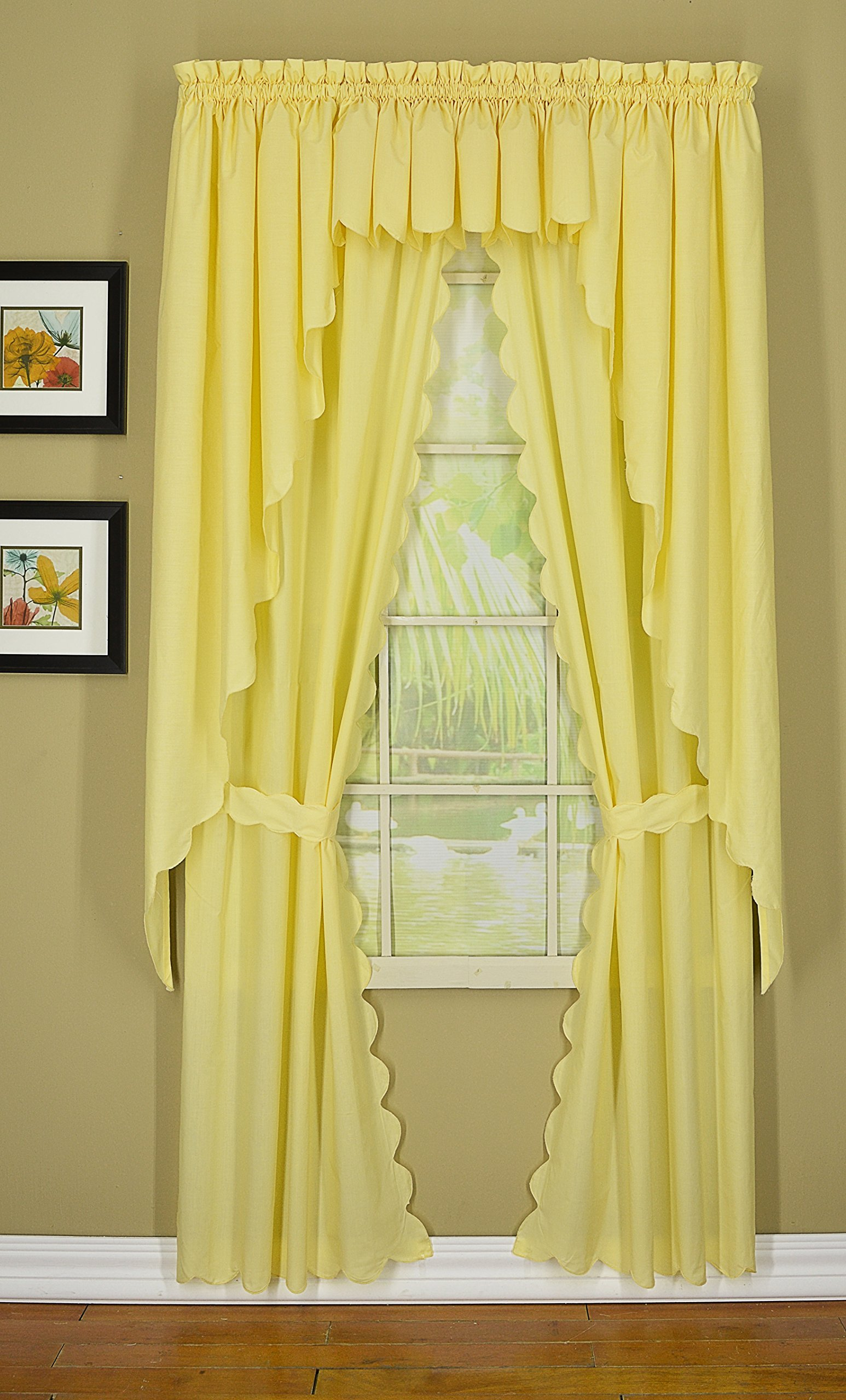 Today's Curtain CA2003K Orleans 63'' Panel Pair with Tiebacks Tambour Scallop Edge Curtain, Buttercup, 60'' W x 63'' L/TB