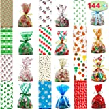 JOYIN 144 PCs Christmas Cellophane Goody Bags with Twist Ties for Christmas Holiday Treats Bags, Christmas Party Favors, Cello Candy Bags,, Party Supplies, Christmas Goodie Bags