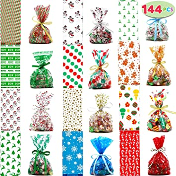 Christmas Cellophane Bags.Joyin 144 Pcs Christmas Cellophane Goody Bags With Twist Ties For Christmas Holiday Treats Bags