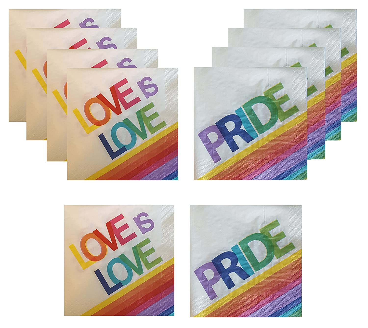 Gay Pride Love is Love Rainbow Napkins Variety Pack 32 total paper napkins multiple