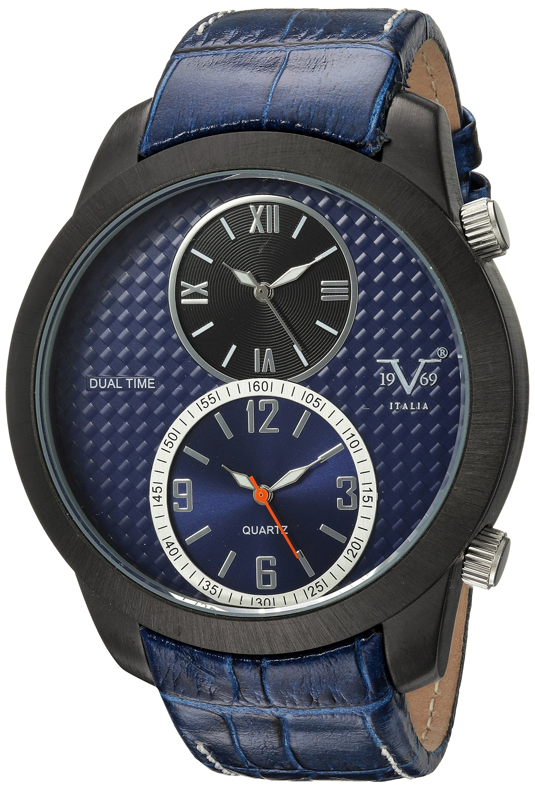 V19.69 Italia Men's Quartz Metal and Leather Casual Watch, Color:Blue (Model: 37VM103201A) by Wrist Armor (Image #1)