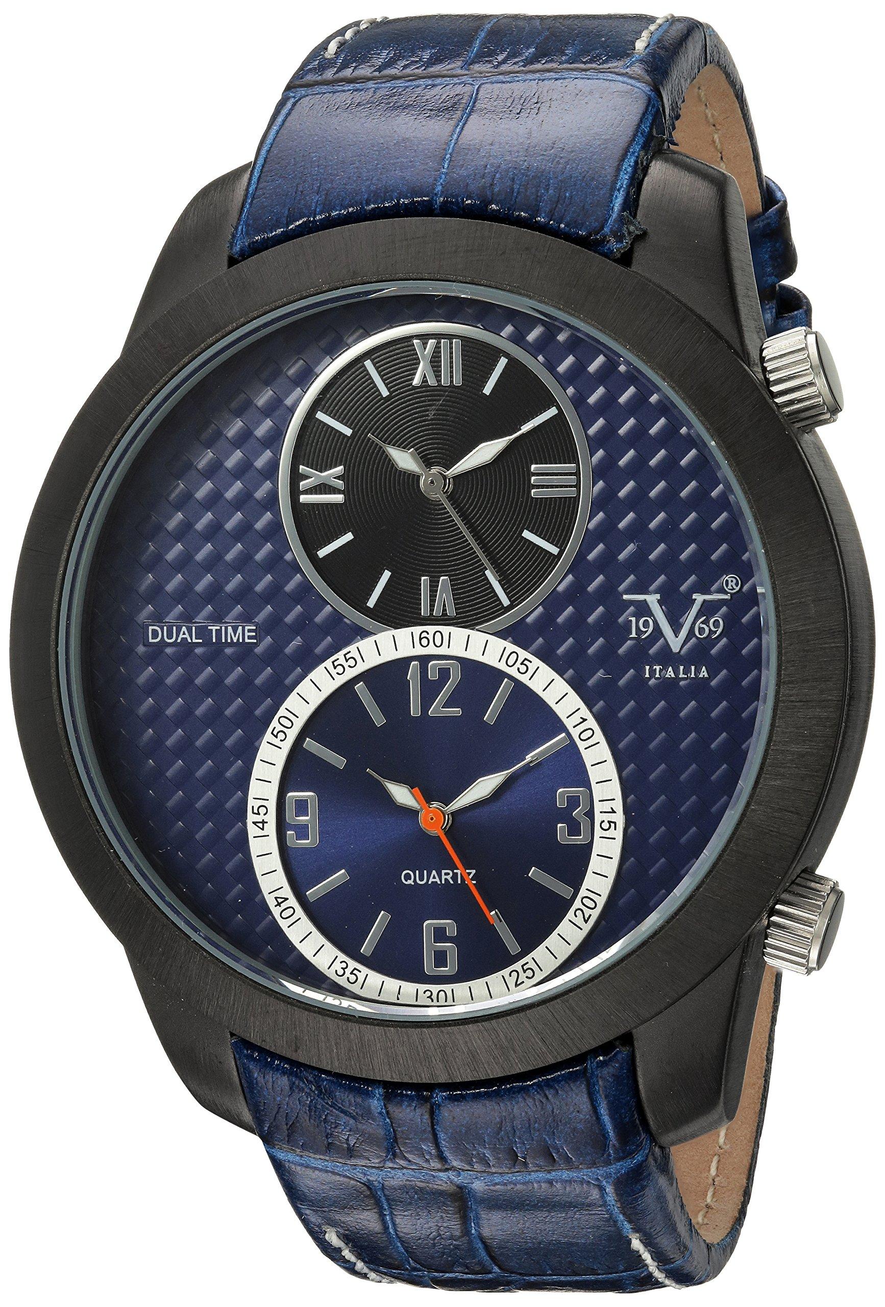 V19.69 Italia Men's Quartz Metal and Leather Casual Watch, Color:Blue (Model: 37VM103201A)