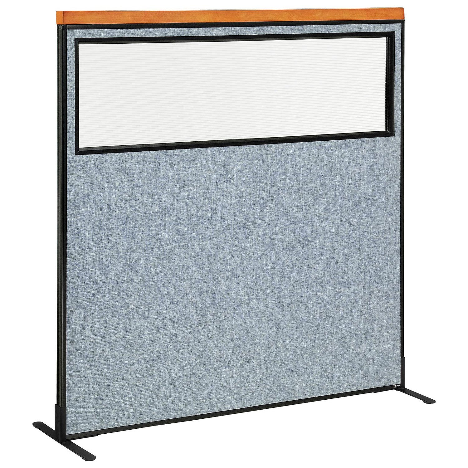 60-1/4''W x 61-1/2''H Deluxe Freestanding Office Partition Panel with Partial Window, Blue