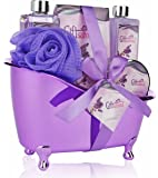 Spa Gift Basket Lavender Fragrance, Cute Tub-Shaped Holder With Bath Accessories, Great Wedding, Birthday or Anniversary Gift Set, Includes Shower Gel, Bubble Bath, Bath Salts, Bath Bombs & more!