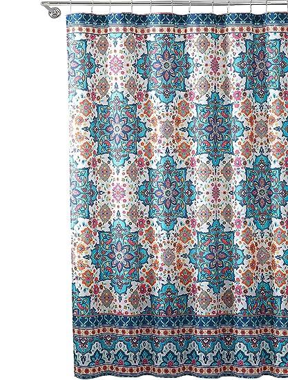 Bright Boho Aqua Blue Orange Fabric Shower Curtain Colorful Floral Mandala Design On Distressed Style Background 72 X Inch