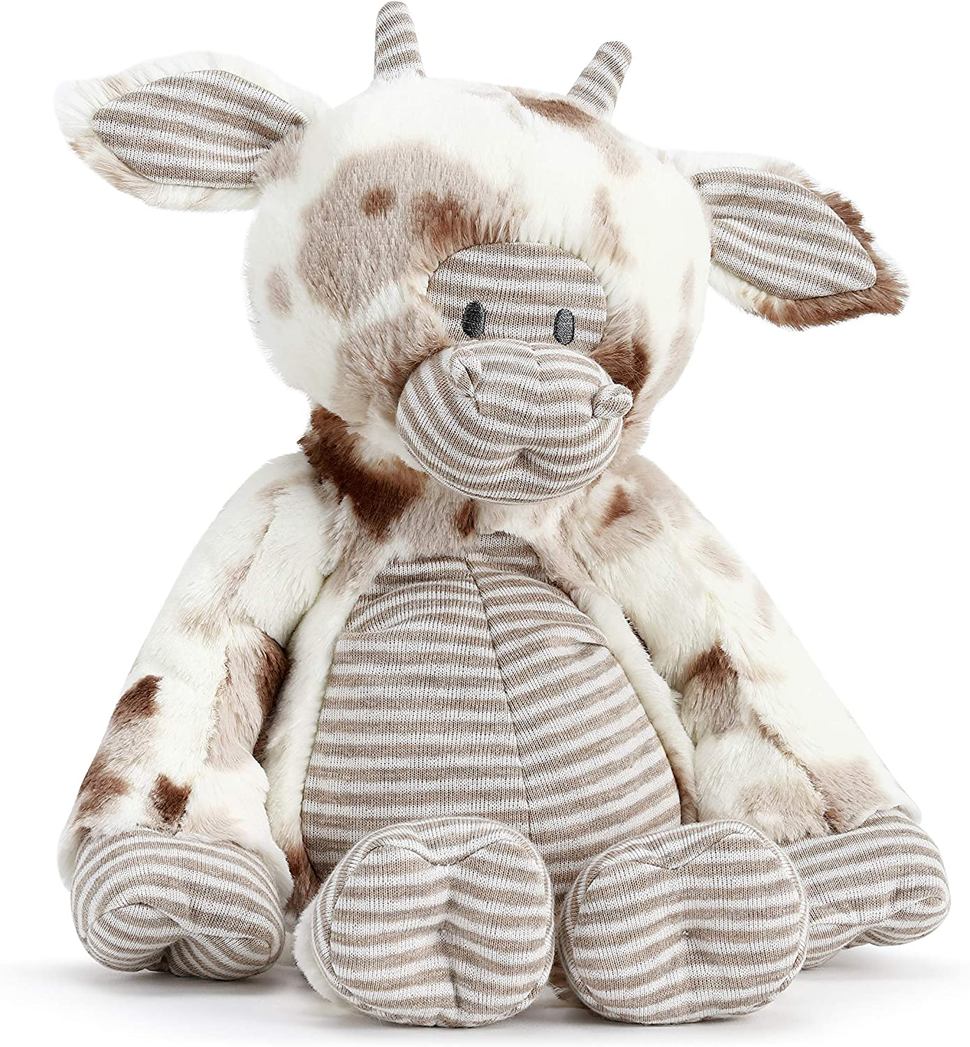 DEMDACO Brown Spotted Barnyard Cow 12 inch Children's Plush Stuffed Animal Toy