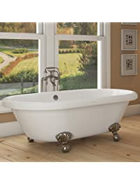 Luxury 72 Inch Large Clawfoot Tub With Vintage Tub Design In White,  Includes Brushed Nickel
