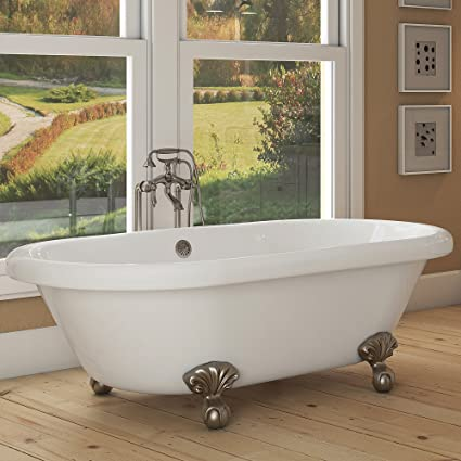 Charmant Luxury 72 Inch Large Clawfoot Tub With Vintage Tub Design In White,  Includes Brushed Nickel