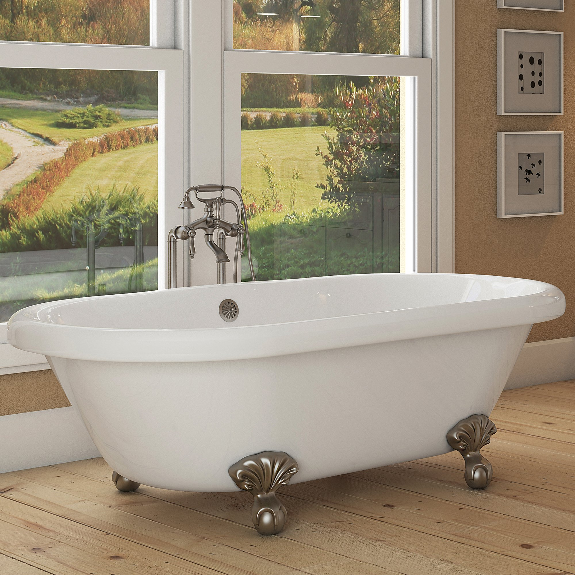 Luxury 72 inch Large Clawfoot Tub with Vintage Tub Design in White, Includes Brushed Nickel Ball and Claw Feet and Drain, From The Northfield Collection