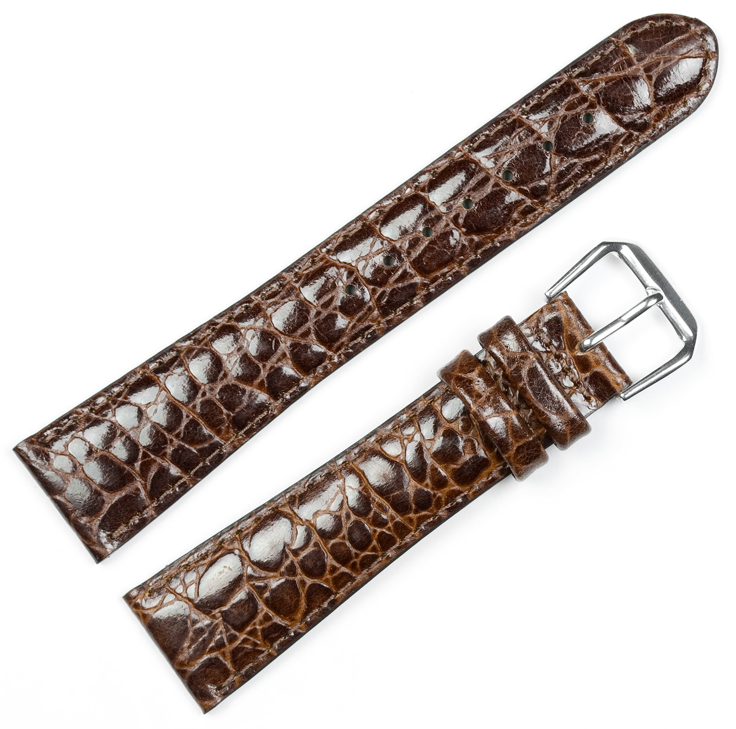 Alligator Grain Watchband - Brown 16MM (Extra Long)