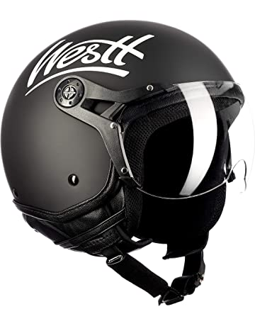 c4ec2d97d474aa Westt® Classic X · Casque Moto Jet Vintage en Noir Mat pour Scooter Chopper  ·