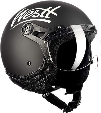 Westt Classic X Casque Moto Jet Vintage En Noir Mat Pour Scooter Chopper Casque De Moto Homme Et Femme Demi Jet Ece Homologue
