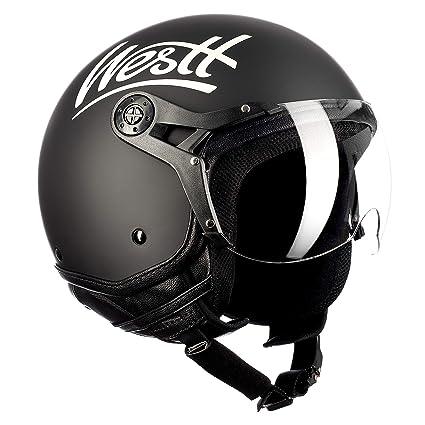Westt Classic X Casco de Moto Jet Abierto - Estilo Vintage - Negro Mate - Certificado ECE