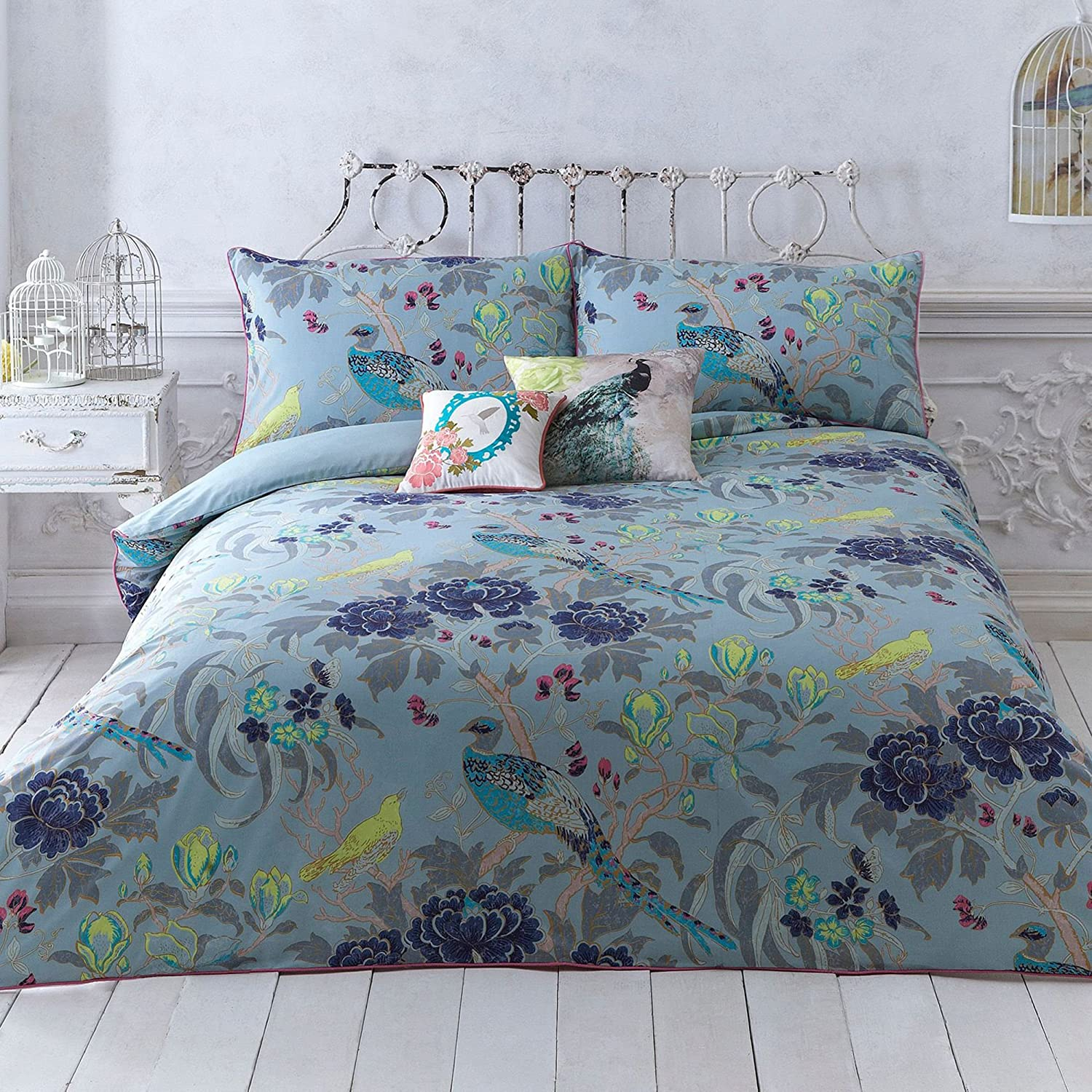 Debenhams Turquoise 'Magnolia Peacock' Bedding Set Double
