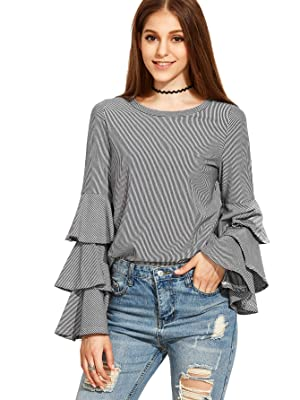 SheIn Women's Striped Layered Bell Sleeve Ruffle Blouse