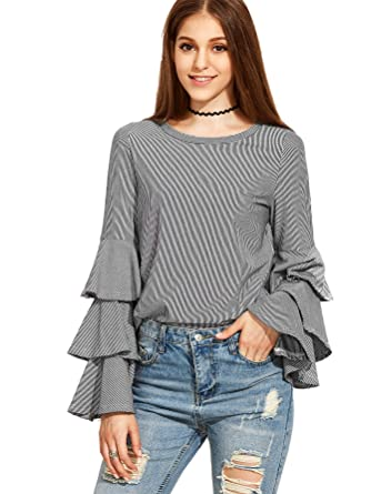 SheIn Women's Striped Layered Bell Sleeve Ruffle Blouse at Amazon ...