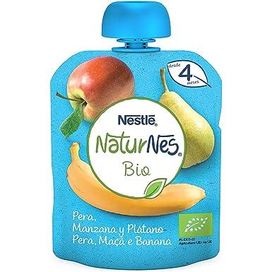 Nestlé Naturnes Bio Bolsita de puré de Pera, Manzana y Plátano - Bolsita de Puré Para bebés 16x90g