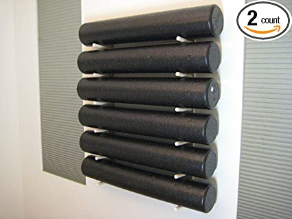Amazon Com Foam Roller And Yoga Mat Storage Rack Wall Mount In Sustainable Hardwood 36 6 Space 1 Set Sports Outdoors