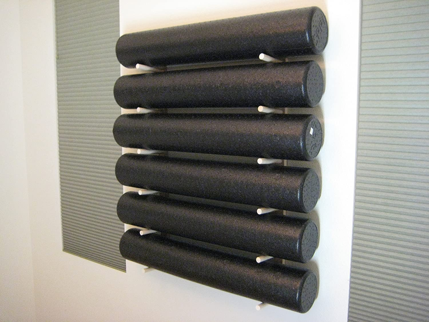 Foam Roller and Yoga Mat Storage Rack Wall Mount in Sustainable Hardwood 36 6-Space 1 Set