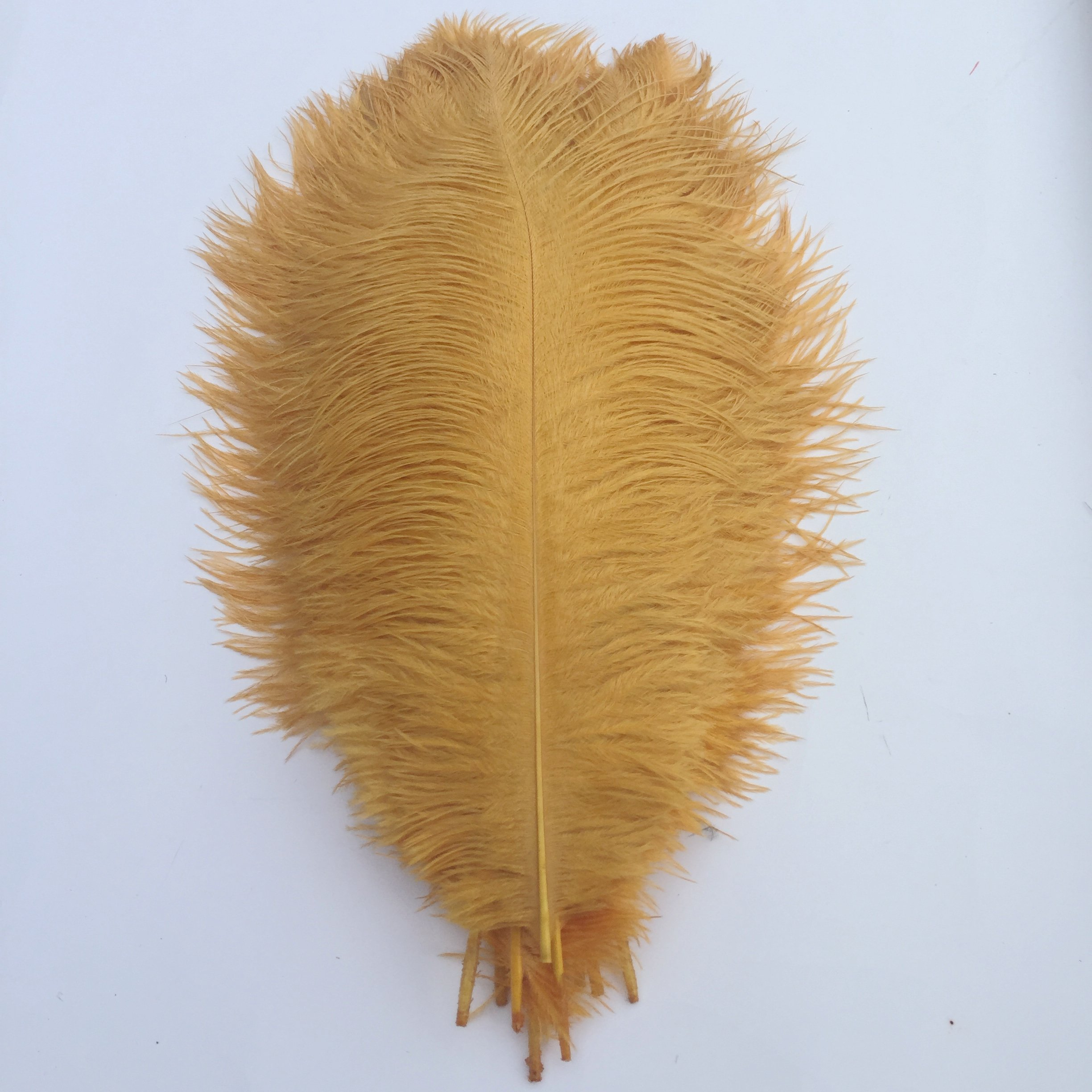 Shekyeon Gold 13-16inch 33-40cm Ostrich Feathers Plumes for Table Decoration Pack of 10