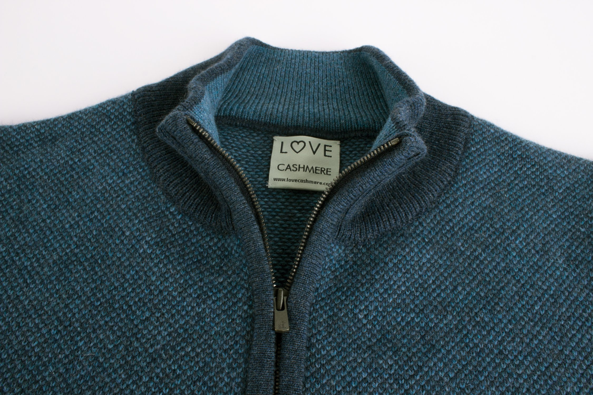 Ladies 100% Cashmere Zip Neck Oversize Sweater - Denim Blue Mix - made in Scotland by Love Cashmere by Love Cashmere (Image #2)