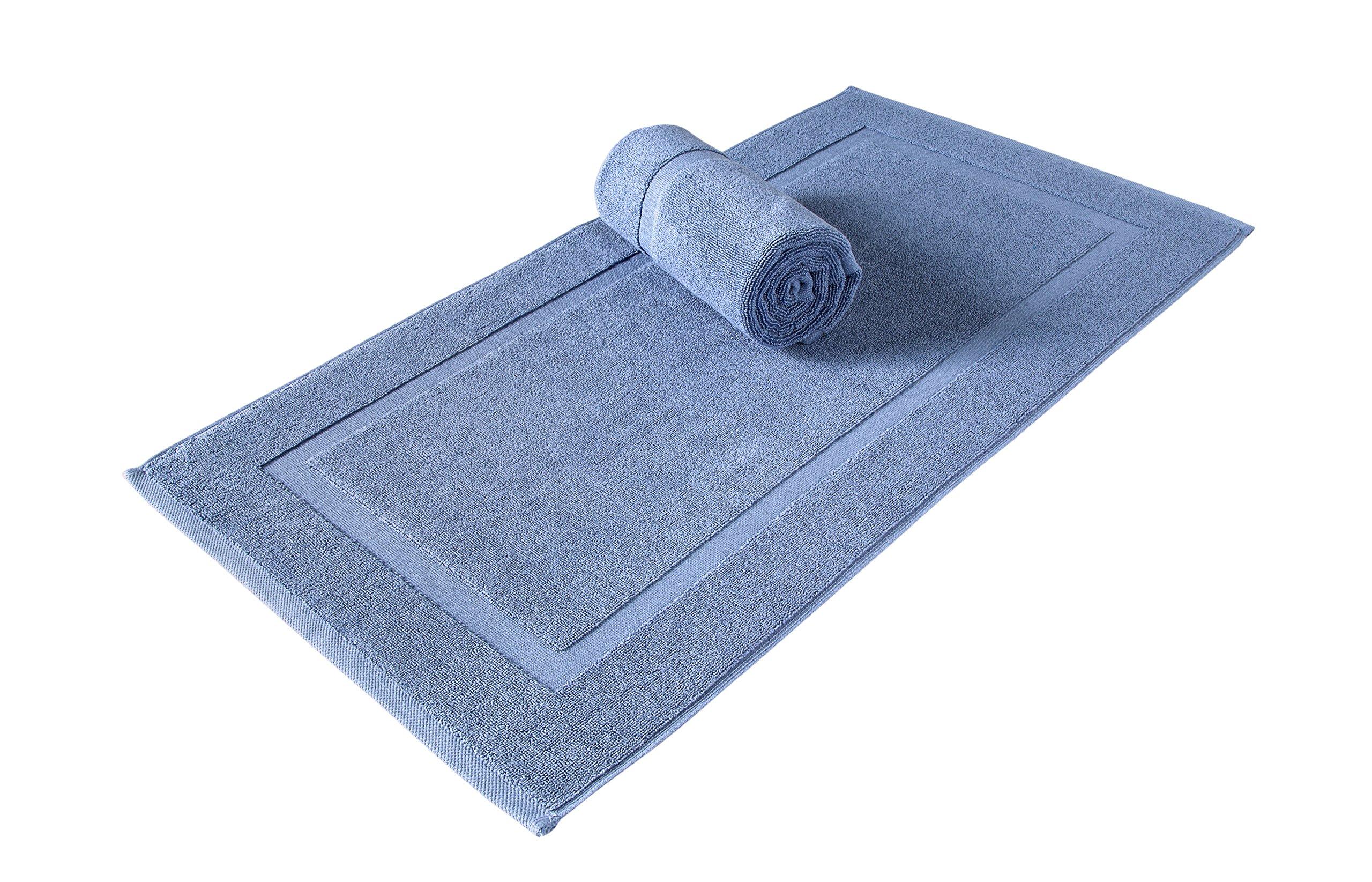 SALBAKOS Luxury Hotel Spa 100% Turkish Cotton Banded Panel Bath Mat Set 900gsm! 20''x34'' (Blue, 2 Pack)