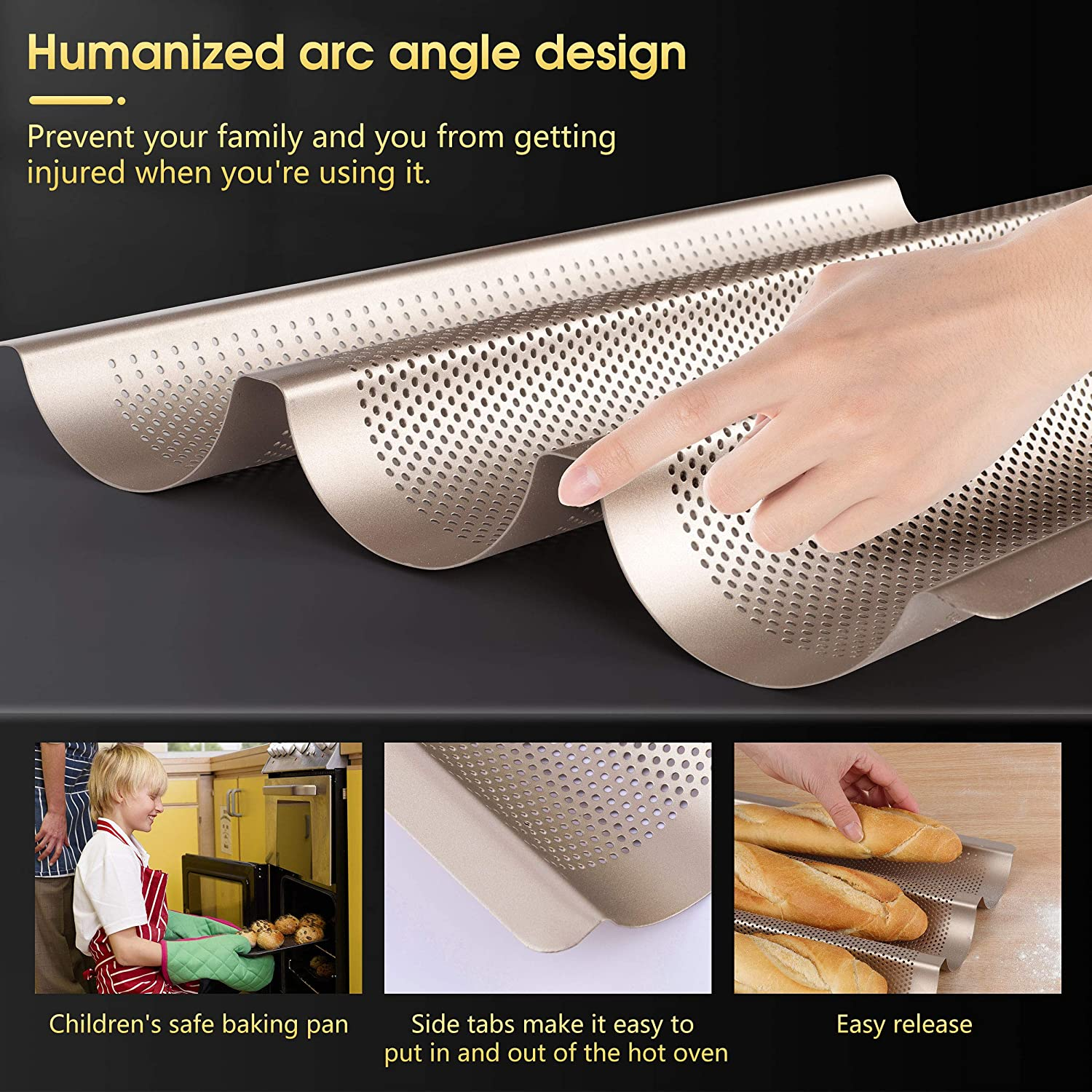 15x11 Perforated French Bread /& Baguette Pans for Baking Pastry Proofing Cloth /& Dough Scraper 3 Loaf Smooth Arc Angle Italian Bread Pan Baking Tray Bake Mold Toast MYEonz Nonstick Baguette Pan