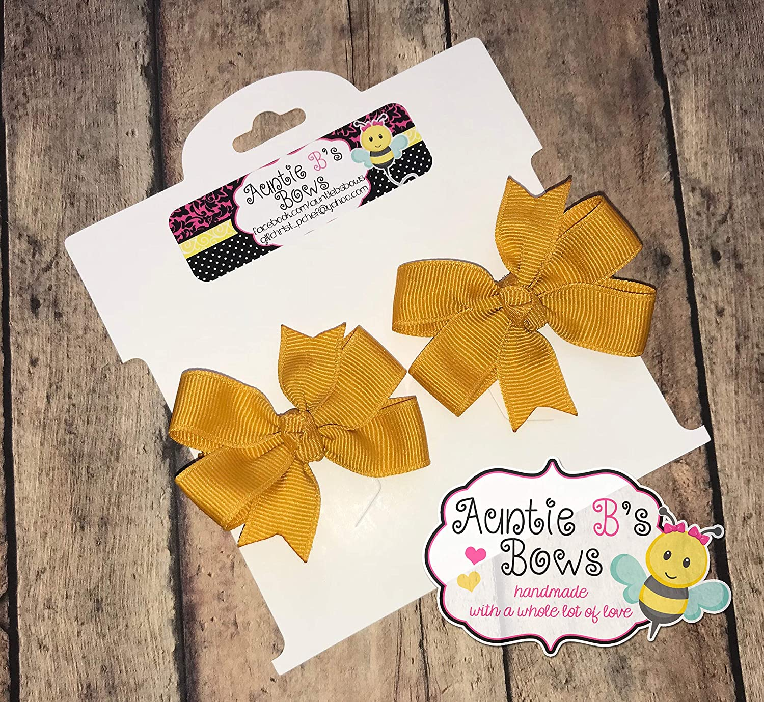 Gold (Mustard) Pinwheel Pigtail Hair Bow Set 2