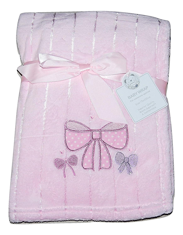 Bebé niña suave forro polar manta Wrap cuna Moisés Cesta lazo rosa Snuggle Baby
