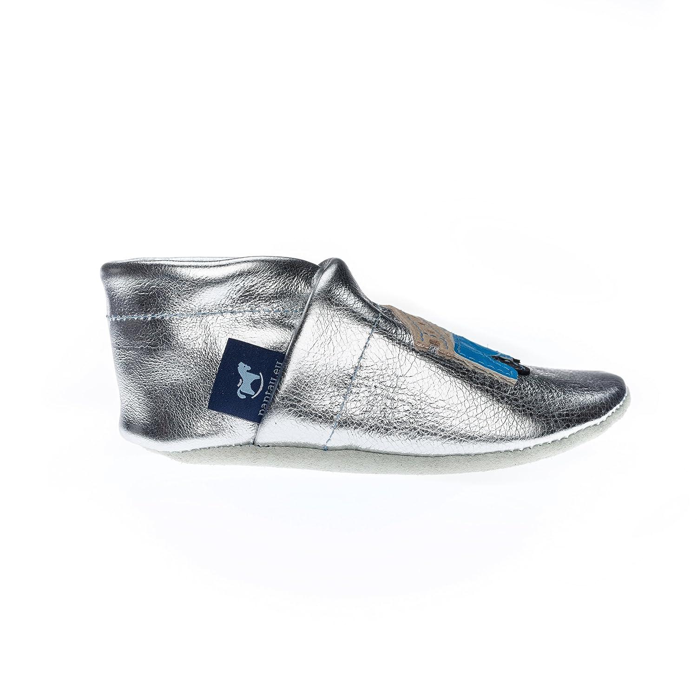 pantau. eu enfants Tapis D'éveil Chaussures souples bébé en cuir avec pompier - Gris - Grau-Rot-Beige, 35 EU / Fußlänge bis 22.8 cm