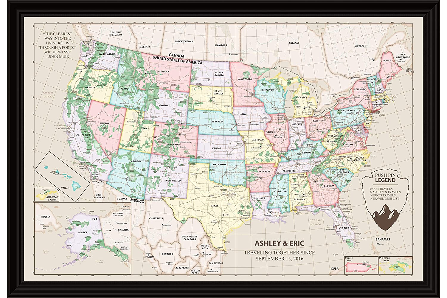 Personalized Usa Map.Amazon Com Personalized Usa Travel Map Canvas Custom Us National