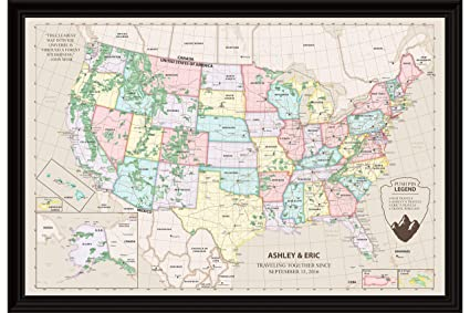 US Travel Map with Pins - Personalized USA National Park Map with Black  Frame and Pins 12 x 18