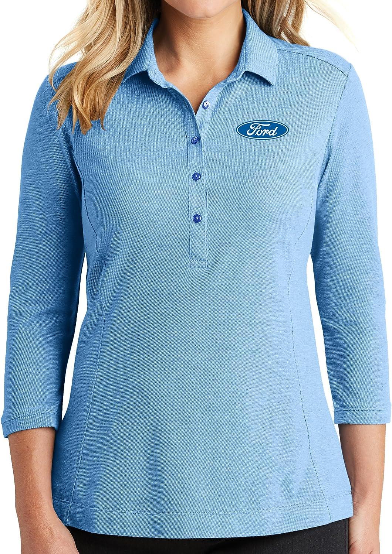 Ladies Premium Ford Oval Logo Long Sleeve Polo Shirt