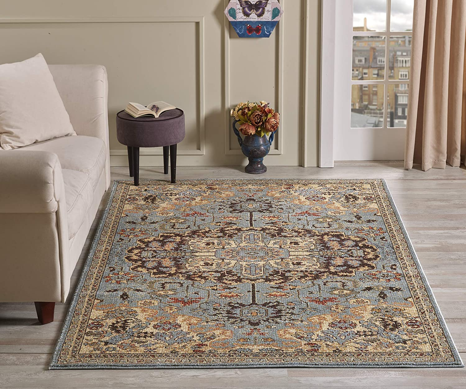 Golden Rugs Gabbeh Collection Persian Area Rug 8x10 Blue Medallion Hand Touch Vintage Traditional Carpet Texture for Bedroom Living Dining Room 7254 (8x10, Blue)