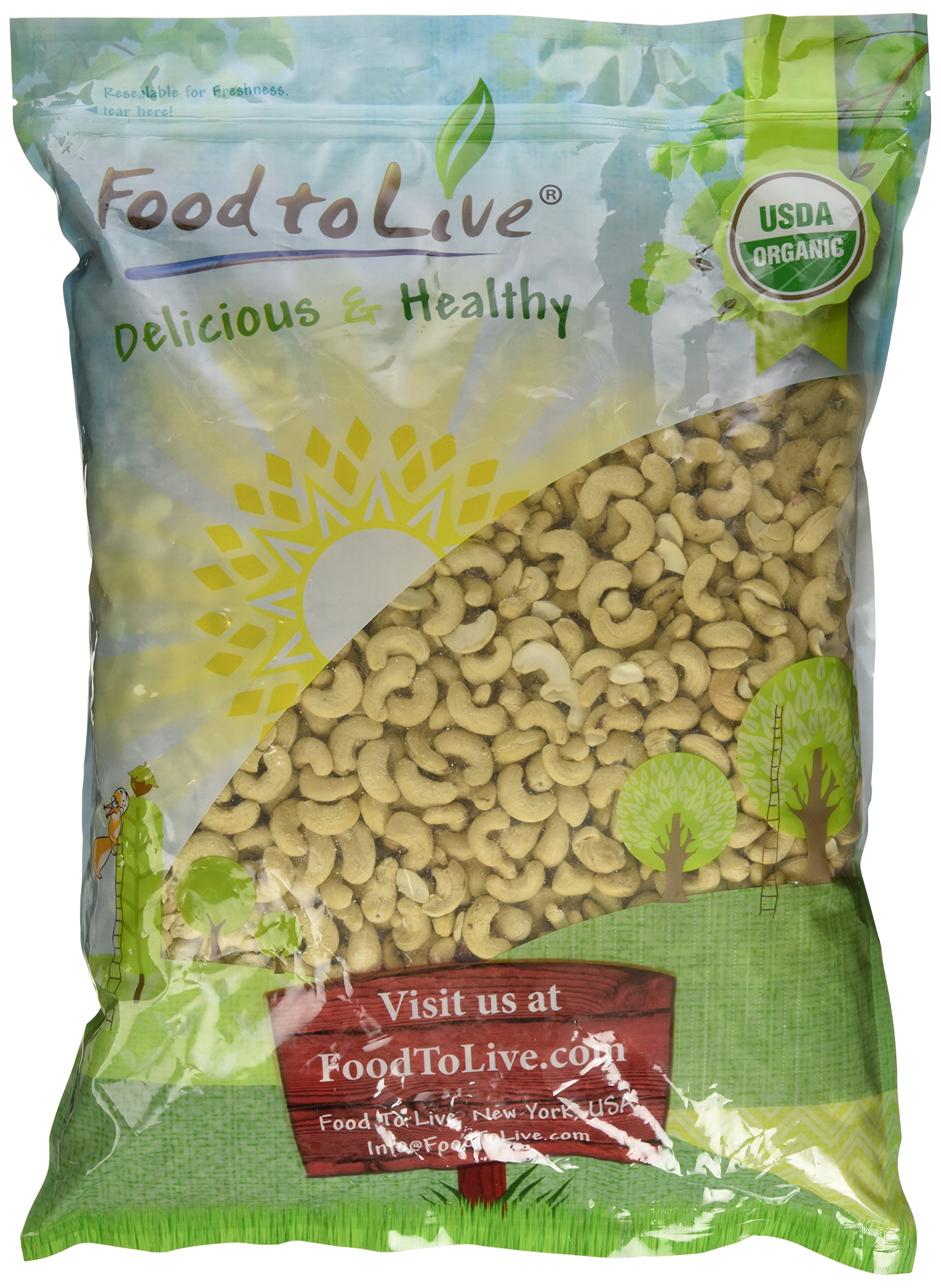 Organic Raw Cashews by Food to Live (Non-GMO, Whole, Unsalted, Bulk) — 8 Pounds