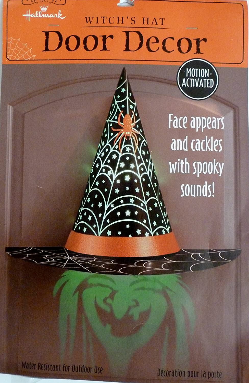 amazoncom hallmark halloween hgn5020 shadows and shrieks witchs hat door decor hallmark patio lawn garden - Hallmark Halloween Decorations