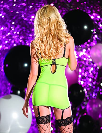 Raveware Lingerie Women s Candy Land Neon Babydoll with Lace 4a3f24be2