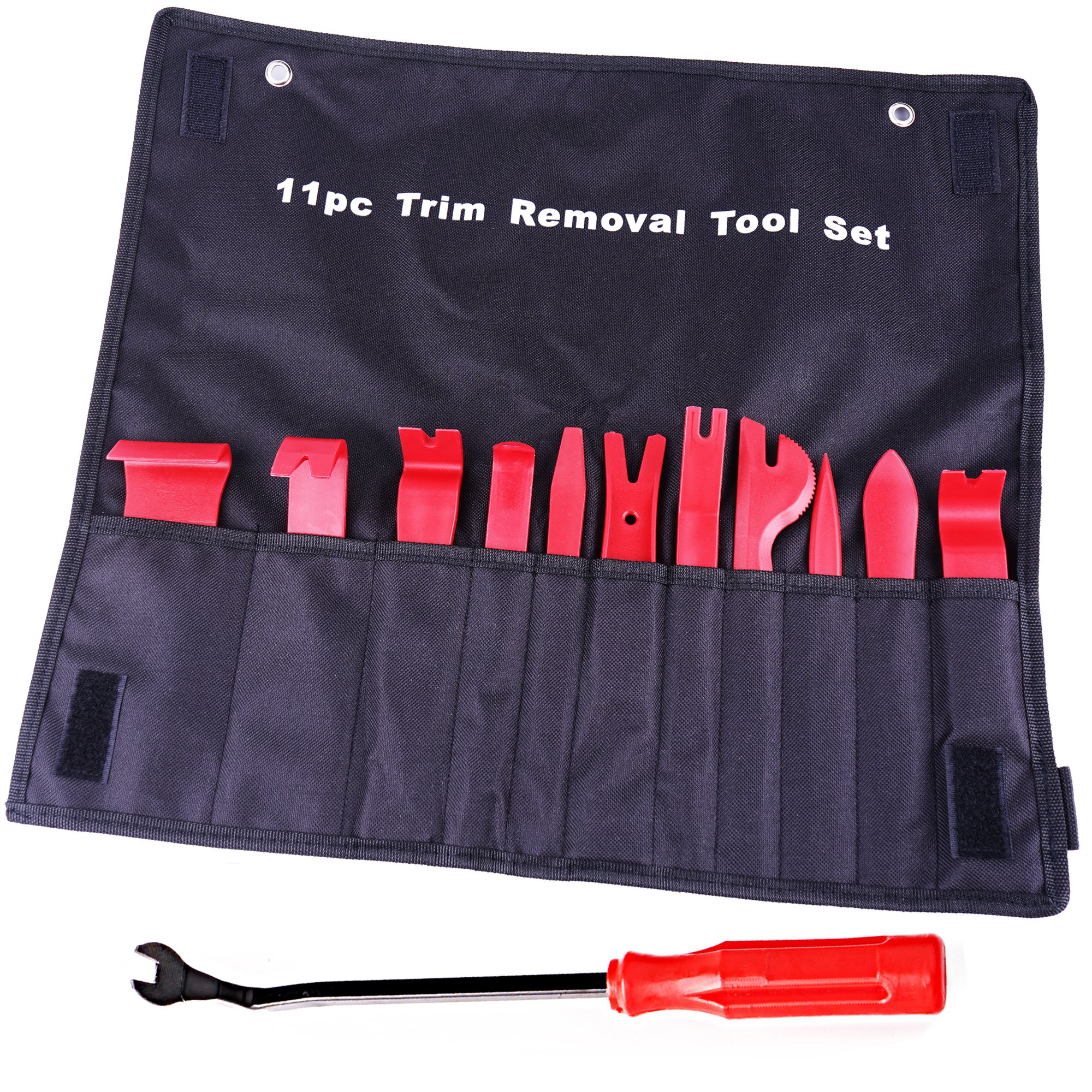 ATOP VALUE 12 Pcs Auto Upholstery Tools, Strong Nylon Door Molding Dash Panel Trim Tool Kit, Durable Nylon Storage Bag - Red