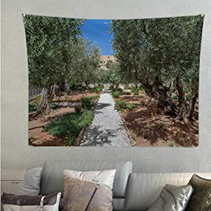C COABALLA Olive Trees in Famous Gardens of Gethsemane Jerusalem,Tapestry Israel. Tapestry's Wall Hanging 59.1'' x 51.1''(WxH)