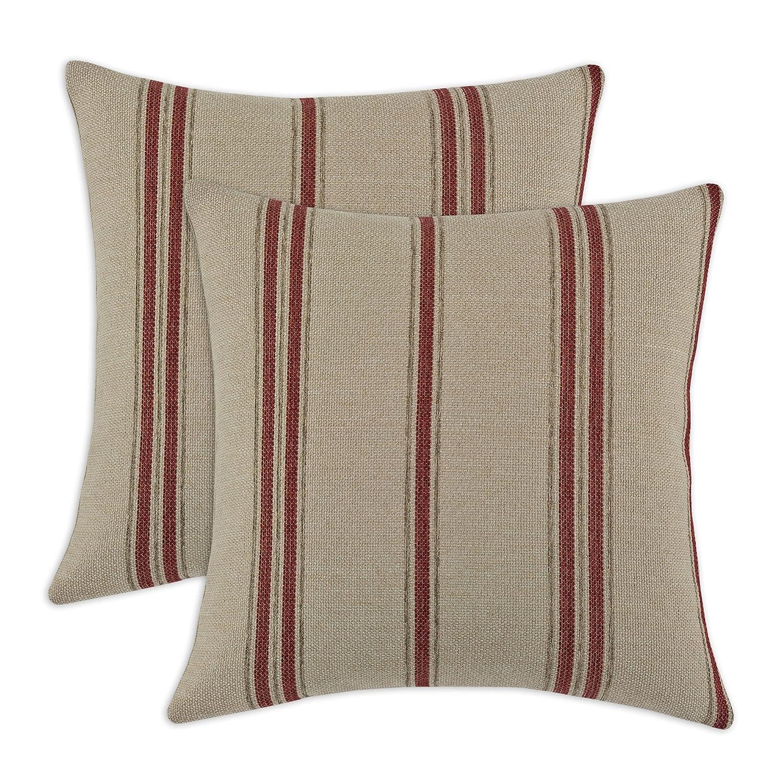 (Tan, Red) - Chooty & Company KE Fibre Pillow, 43cm by 43cm, Rafting Pearl, Set of 2   B00NL17V34