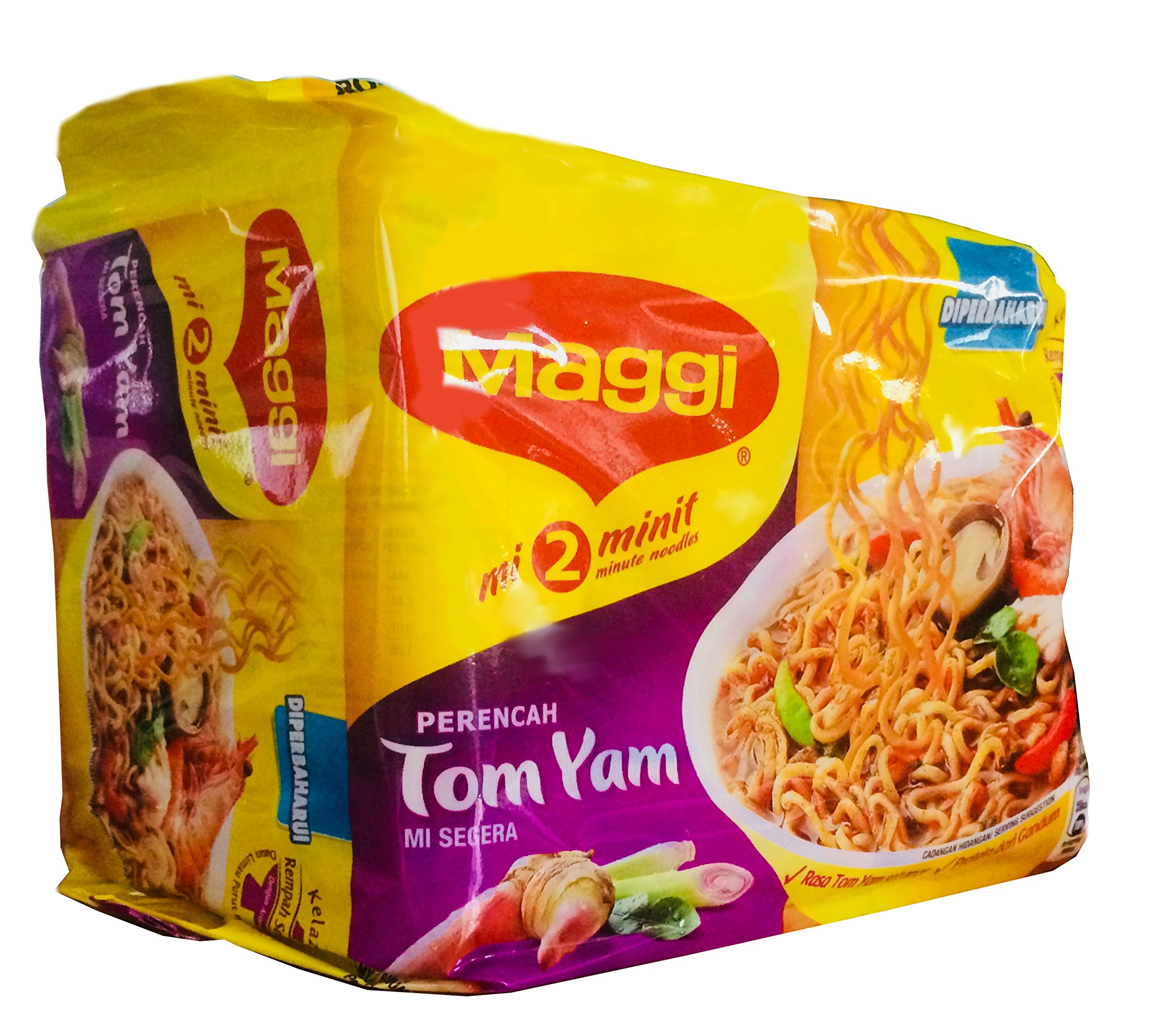 Maggi 2 Minute Noodles Tom Yam Flavour - 80g - Pack of 5 (80g x 5) by Maggi