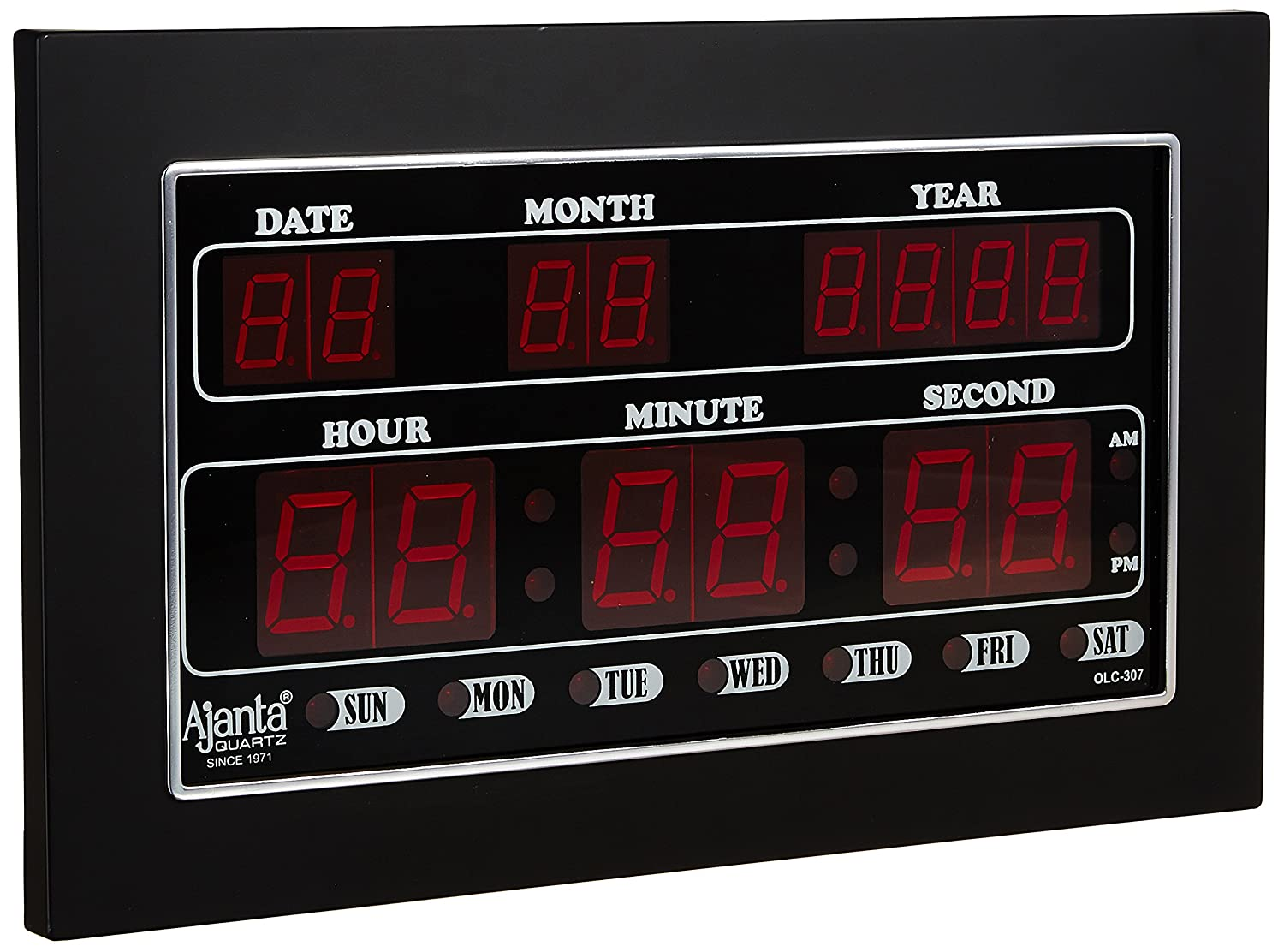 Buy Ajanta Quartz Digital Led Plastic Wall Clock 34 Cm X 20 4 Electronics Circuit Displays And Timing For Single Board Computer Black Online At Low Prices In India