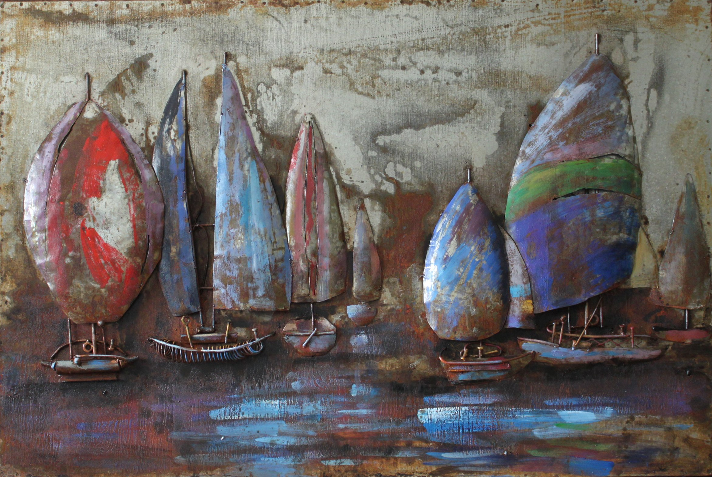 Empire Art Direct ''The Regatta 2'' Mixed Media Hand Painted Iron Wall Sculpture by Primo