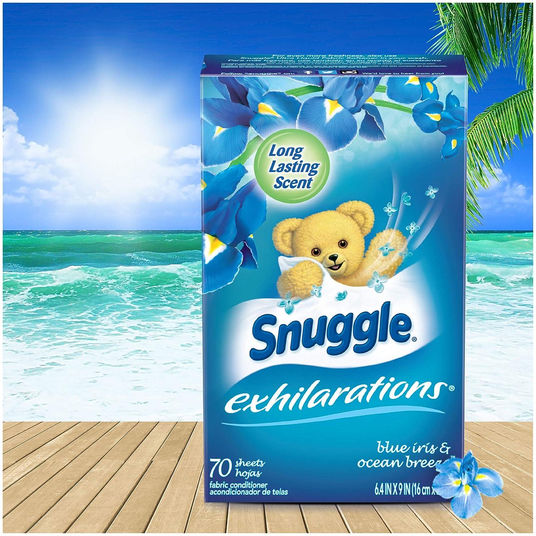 3fb35ba454df Amazon.com: Snuggle Exhilarations Fabric Softener Dryer Sheets, Blue Iris &  Ocean Breeze, 70 Count: Health & Personal Care